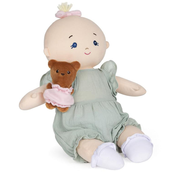 GUND Baby Doll with Teddy Bear Green Romper 9