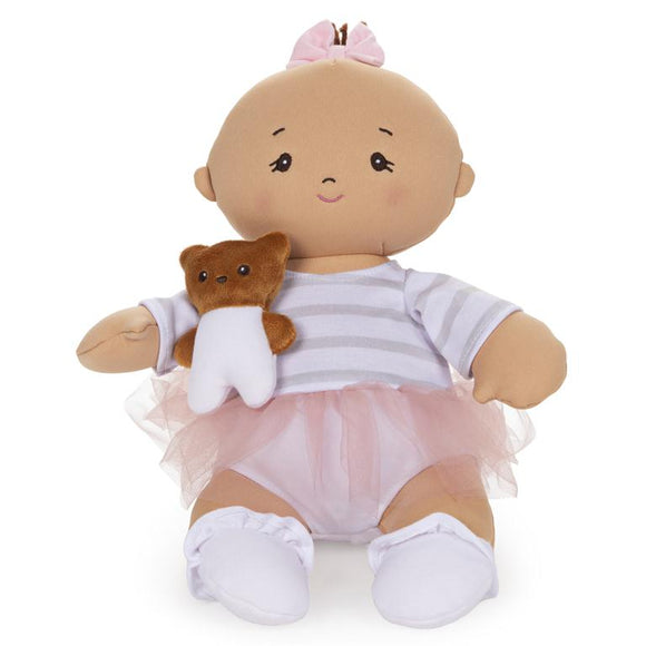 GUND Baby Doll with Teddy Bear Pink Tutu 9