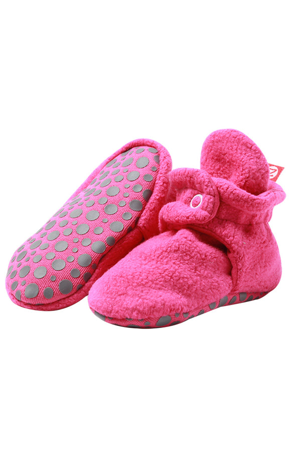 Zutano Cozie Baby Booties Fuchsia with Grippers