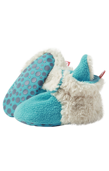 Zutano Cozie Baby Booties Furry Pool with Grippers