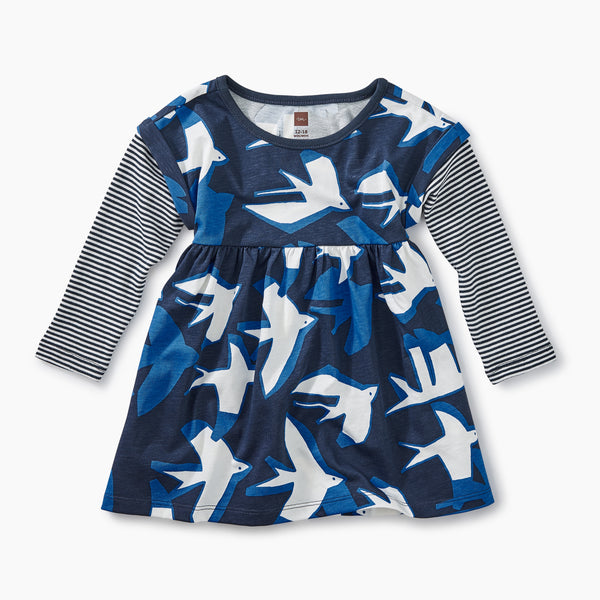 Tea Collection Layered Sleeve Baby Dress Sea Birds