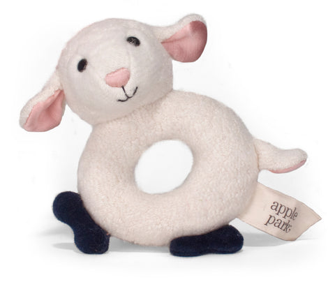 Apple Park Organic Teething Rattle – Lamby
