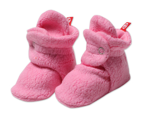 Zutano Cozie Baby Booties Hot Pink
