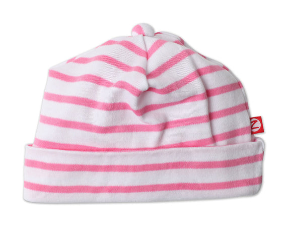 Zutano Newborn Hat Breton Stripe Hot Pink