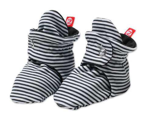 Zutano Cotton Baby Booties Candy Stripe Black
