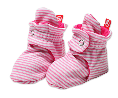 Zutano Cotton Baby Booties Candy Stripe Hot Pink