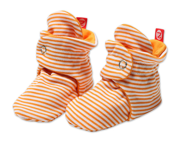 Zutano Cotton Baby Booties Candy Stripe Orange