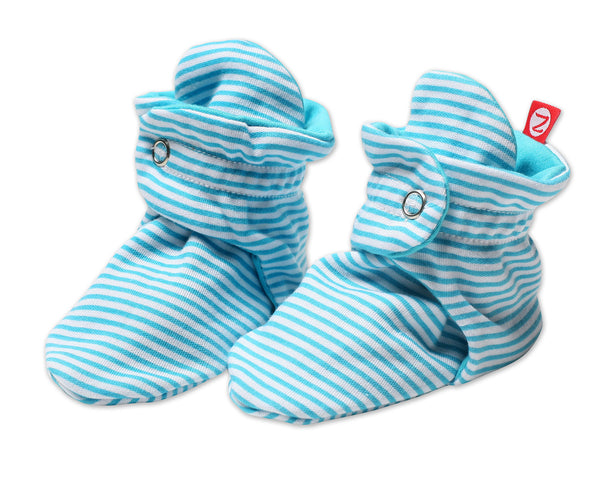Zutano Cotton Baby Booties Candy Stripe Pool