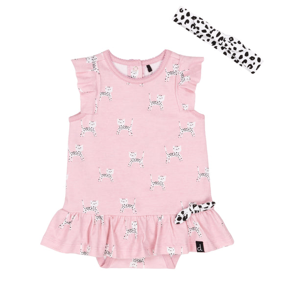 Deux Par Deux Organic Cotton Printed Baby Leopard Romper Dress with Headband