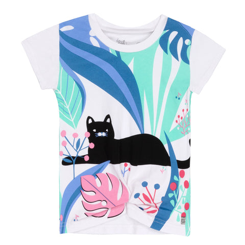 Deux Par Deux Front Knotted White Cat in The Jungle T-Shirt