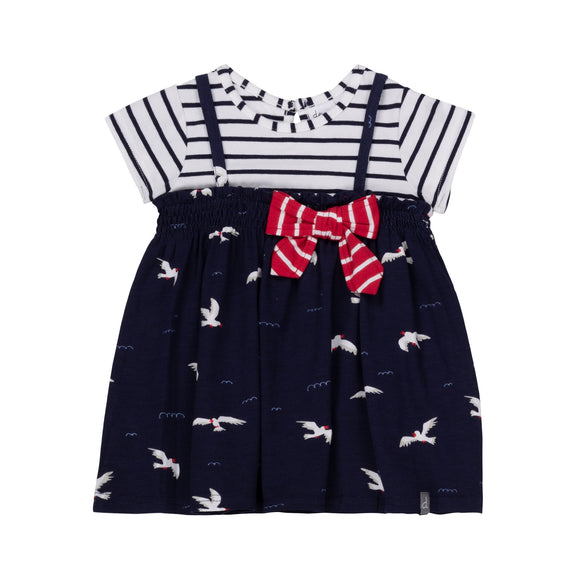 Deux Par Deux Printed Seagulls Fooler Jumper Dress