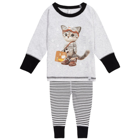Deux Par Deux Glow In The Dark Cat Explorator Pajama