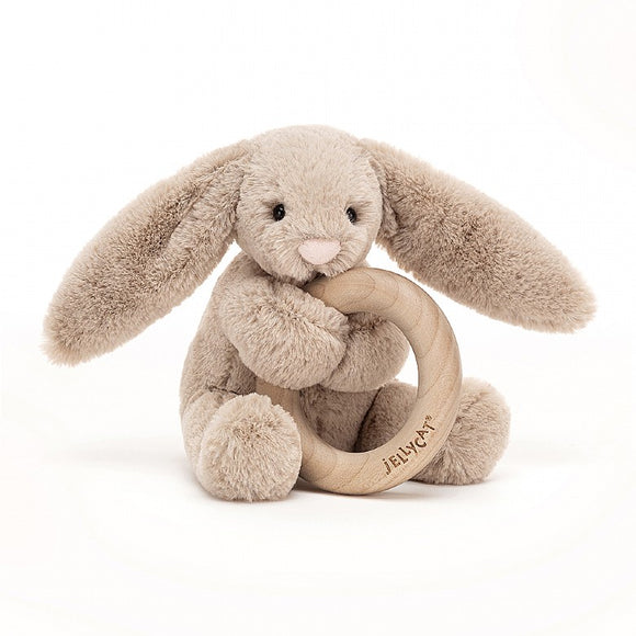 Little Jellycat Bashful Beige Bunny Wooden Ring Rattle 5