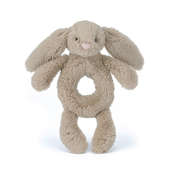 Little Jellycat Bashful Bunny Beige Ring Rattle 6