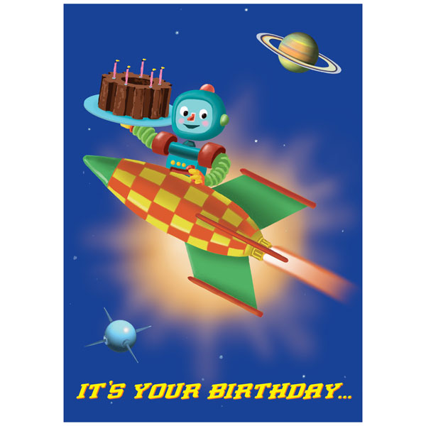eeBoo Birthday Card Have a Blast Robot