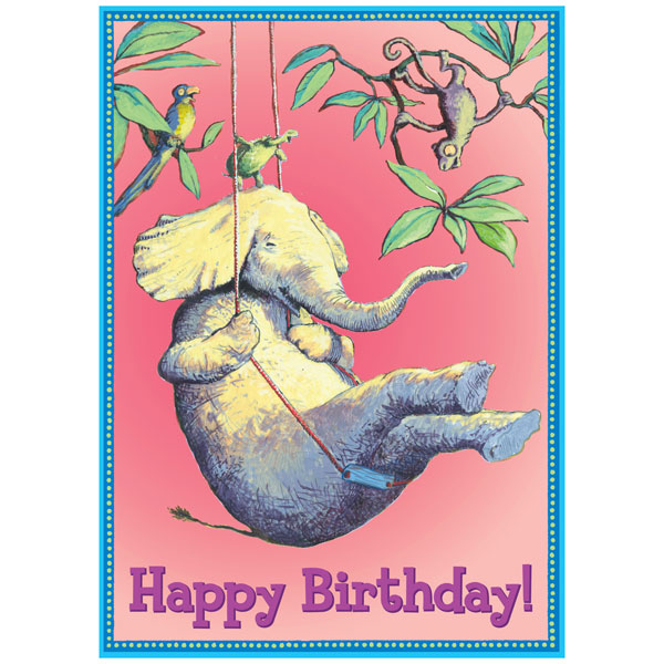eeBoo Birthday Card Elephant on Swing
