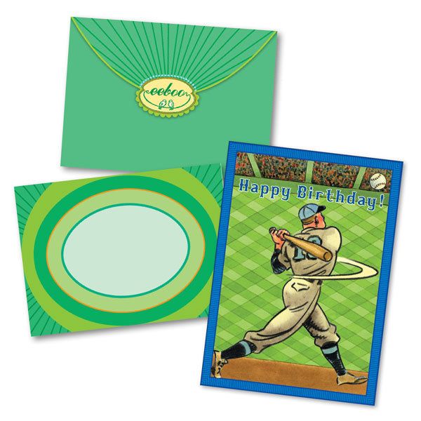eeBoo Birthday Card Baseball Home Run