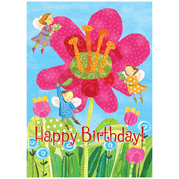 eeBoo Birthday Card Fairies with Giant Pink Flower