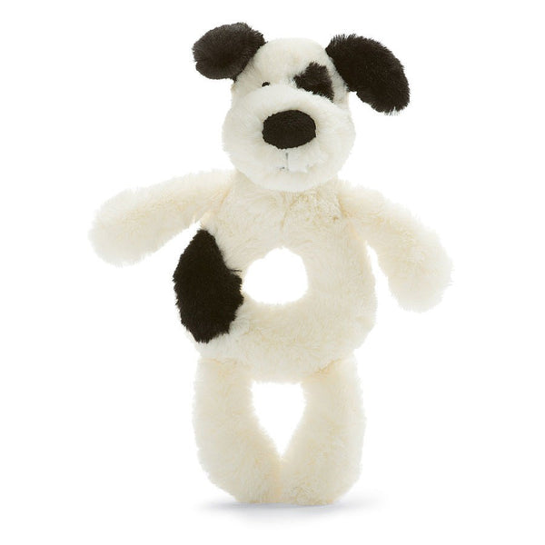Little Jellycat Bashful Black & Cream Puppy Ring Rattle 6""