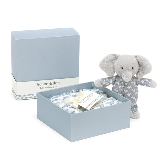 Little Jellycat Baby Bedtime Elephant & Muslin Set