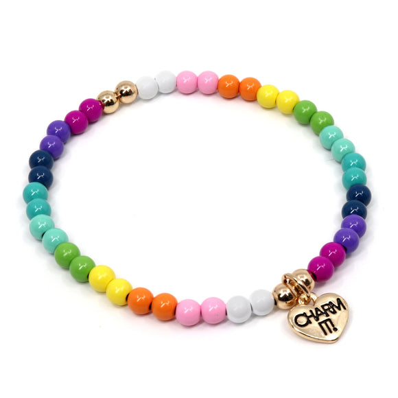 Charm It Bead Stretch Bracelet 4mm Rainbow