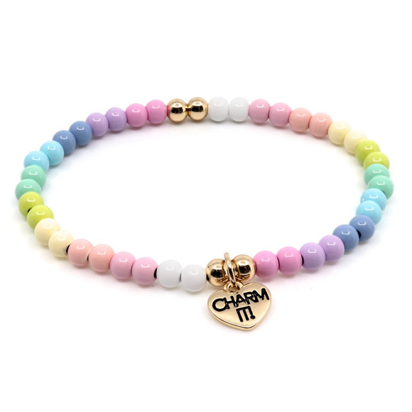 Charm It Bead Stretch Bracelet 4mm Pastel Rainbow