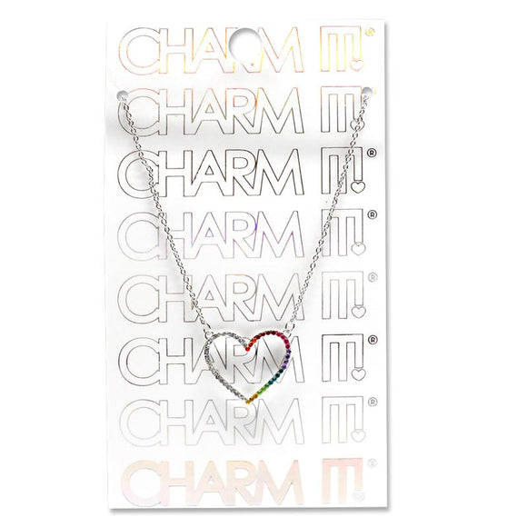 Charm It Necklace Rhinestone Heart