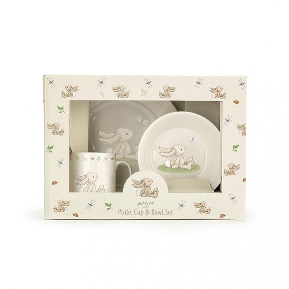 Little Jellycat Bashful Bunny Bowl, Cup, & Plate Set