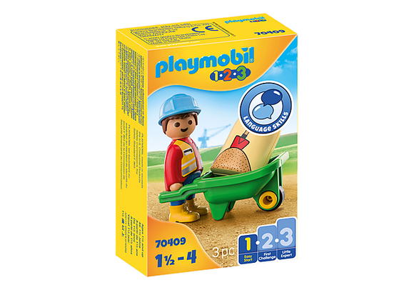 Playmobil 1.2.3 Construction Worker with Wheelbarrow