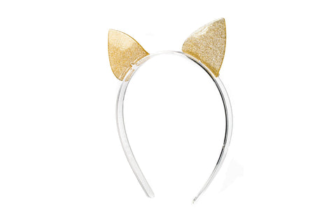 Lilies & Roses Headband Sparkle Gold Cat Ears