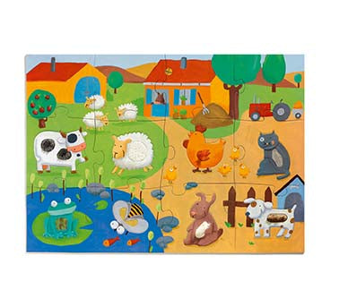 Djeco Giant Floor Puzzle Tactile Farm
