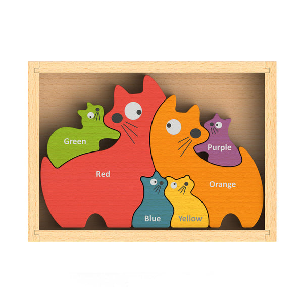 Begin Again Cat Family Bilingual (English + Spanish) Color Puzzle