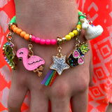 Charm It Bead Stretch Bracelet 4mm Neon Rainbow