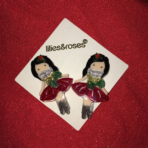 Lilies & Roses Hair Clips Red Christmas Girls