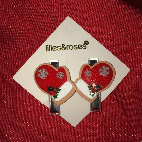 Lilies & Roses Hair Clips Red Mittens