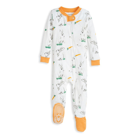 Burt's Bees Baby Organic Baby Zip Up Footed Pajamas Rabbit Habit