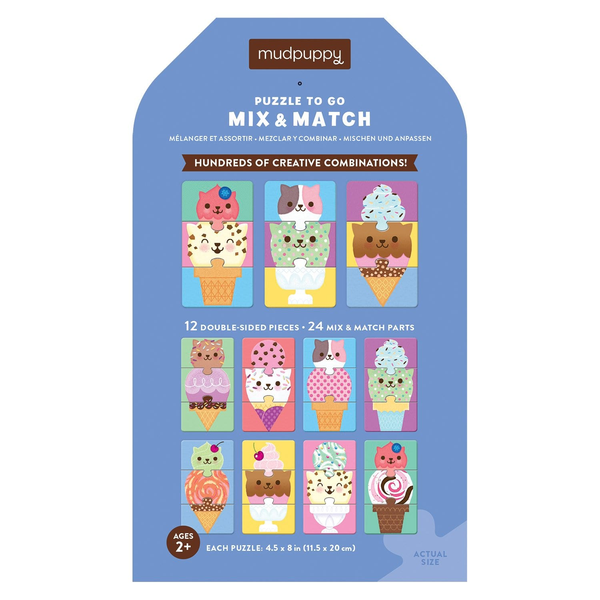 Mudpuppy Puzzle to Go Mix and Match - Ice Cream Cats