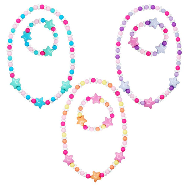 Pink Poppy Matt Bead Star Necklace and Bracelet Set