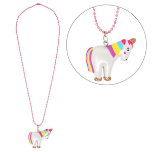 Pink Poppy Unicorn Ball Chain Necklace