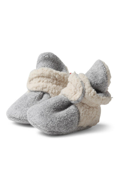Zutano Cozie Baby Booties Furry Heather Gray