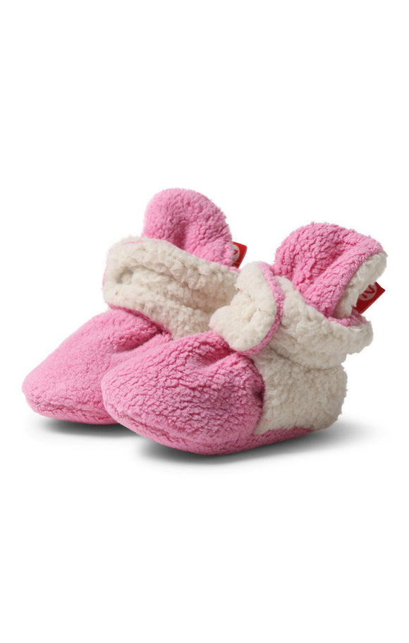 Zutano Cozie Baby Booties Furry Hot Pink