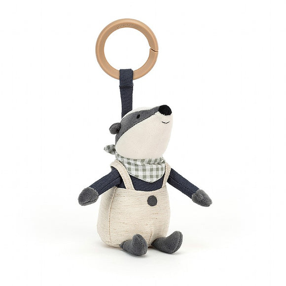 Little Jellycat Little Rambler Badger Rattle 5