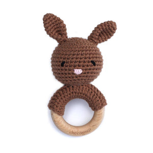 Cheengoo Cotton/Wood Teething Rattle Mocha Bunny
