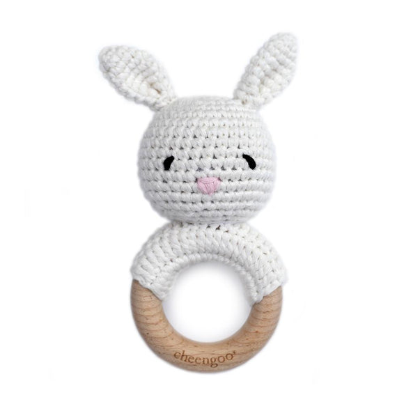 Cheengoo Cotton/Wood Teething Rattle Snow Bunny