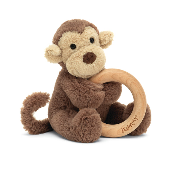 Little Jellycat Bashful Monkey Wooden Ring Rattle