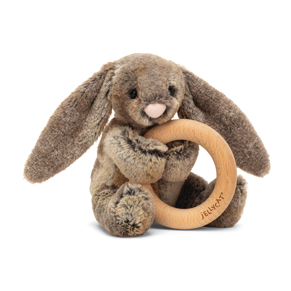 Little Jellycat Bashful Woodland Bunny Wooden Ring Rattle