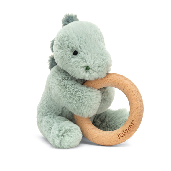 Little Jellycat Puffles Dino Wooden Ring Rattle