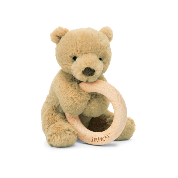 Little Jellycat Shooshu Bear Wooden Ring Toy