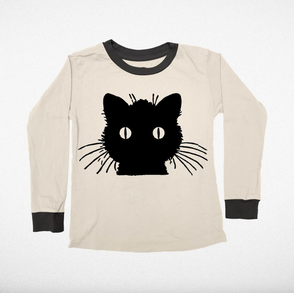 Tiny Whales Black Cat Long Sleeve Tee