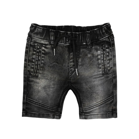 Deux Par Deux French Terry Denim Bermuda Shorts Black